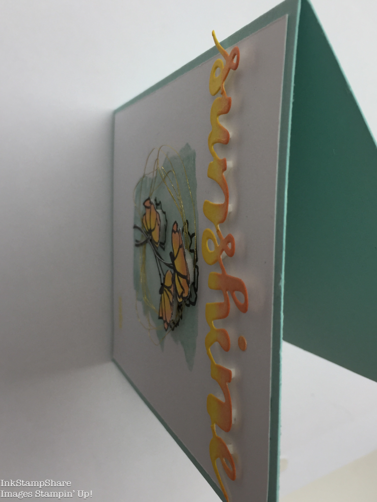 Sunshine Wishes card. Inspire Create Stamping Challenge 18. Sunshine thinlit raised with dimensionals
