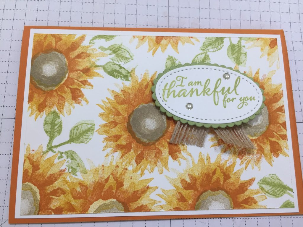 Thank you card using Painted Harvest Sunflower stamps from Stampin Up.