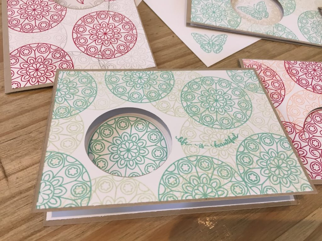 Cards with Painted Glass stamps at Coffee and Cards