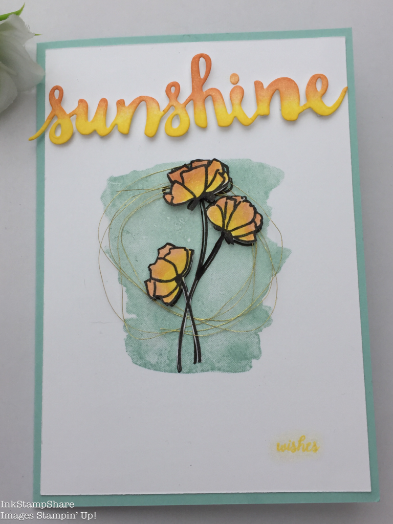 Sunshine card using the Sunshine Wishes Thinlits and the Love What You Do stamps