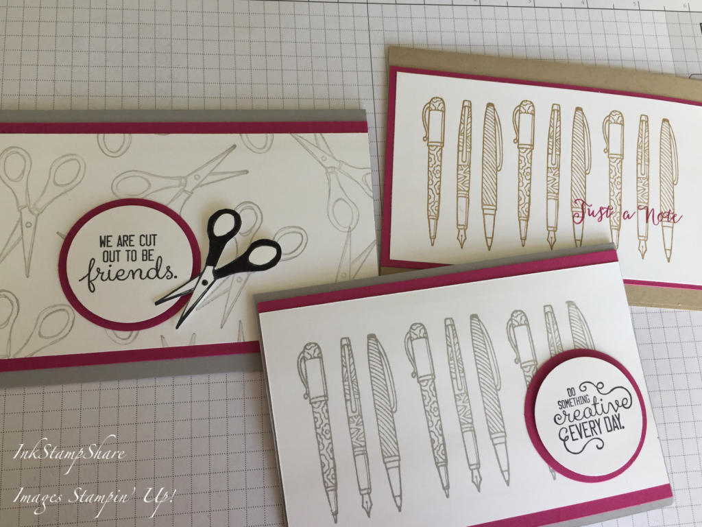 Cards using Crafting Forever stamp set. Pens, scissors. Stampin Up