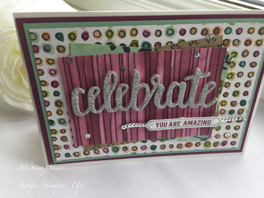 Celebrate You card, hand made congratulations card. Stampin Up