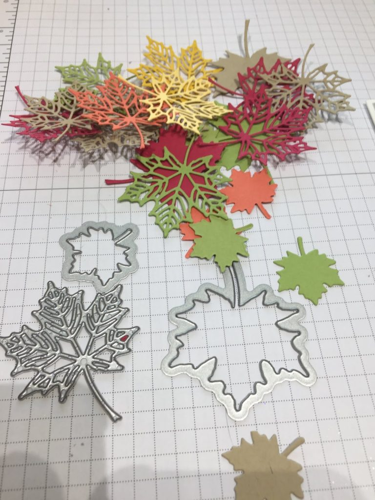 Seasonal Layers, leaf die cuts. Thank you card. Sprig Punch