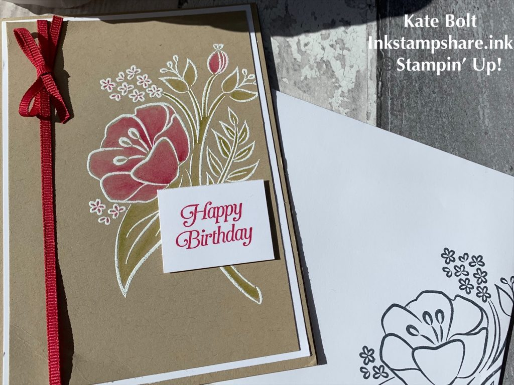 Birthday Card, All That You Are Stamp set, heat embossed in white and coloured in Lovely Lipstick and Old Olive