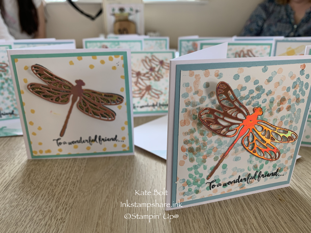 Hand made card with dragonflies in foiled card, cut out with Detailed Dragonfly dies at Coffee And Cards.