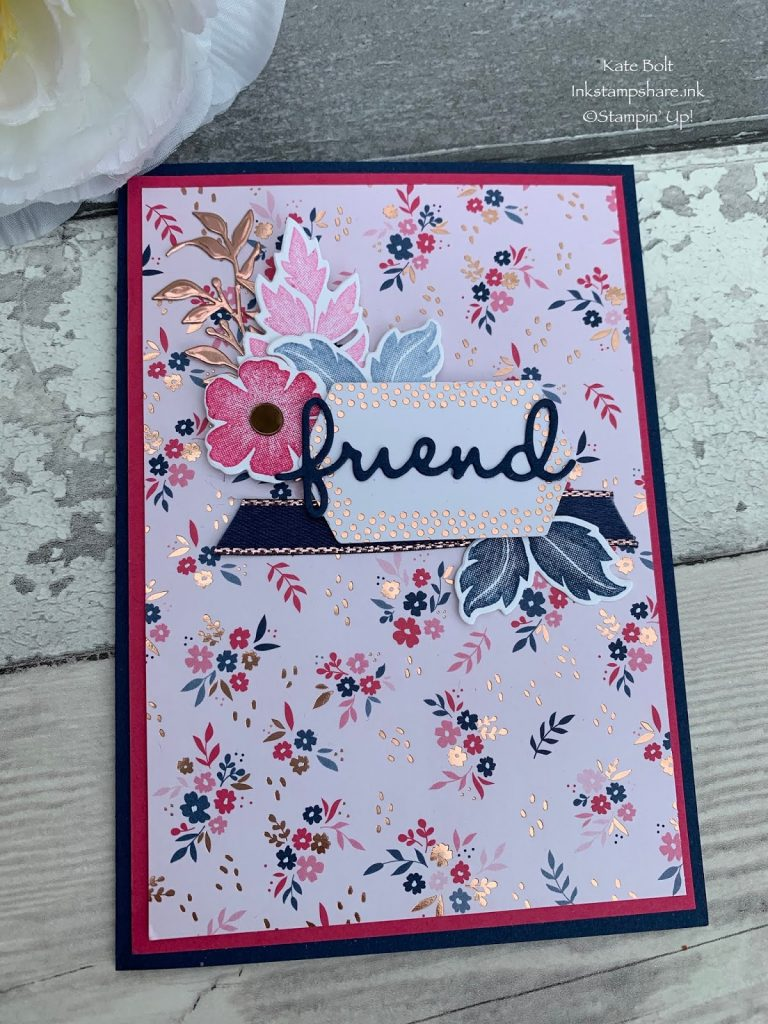 Thank you card for a friend using the Everything Is Rosy Medley form Stampin Up. Kate Bolt. Inkstampshare.ink