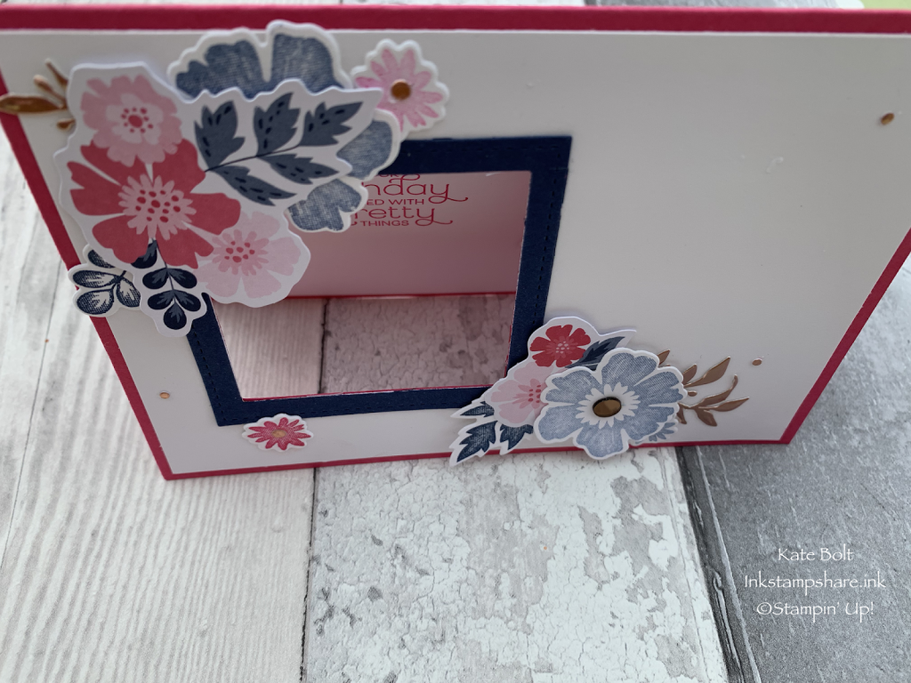Birthday card with a window and flowers using the Everything Is Rosy medley. Stampin' Up