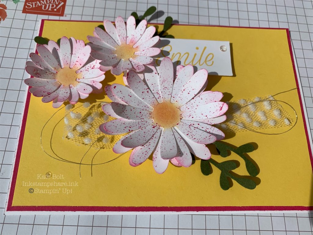 Card in Melon mambo and Daffodil Delight with White Daisies, splattered in Melon Mambo ink for the Inspire Create Challenge