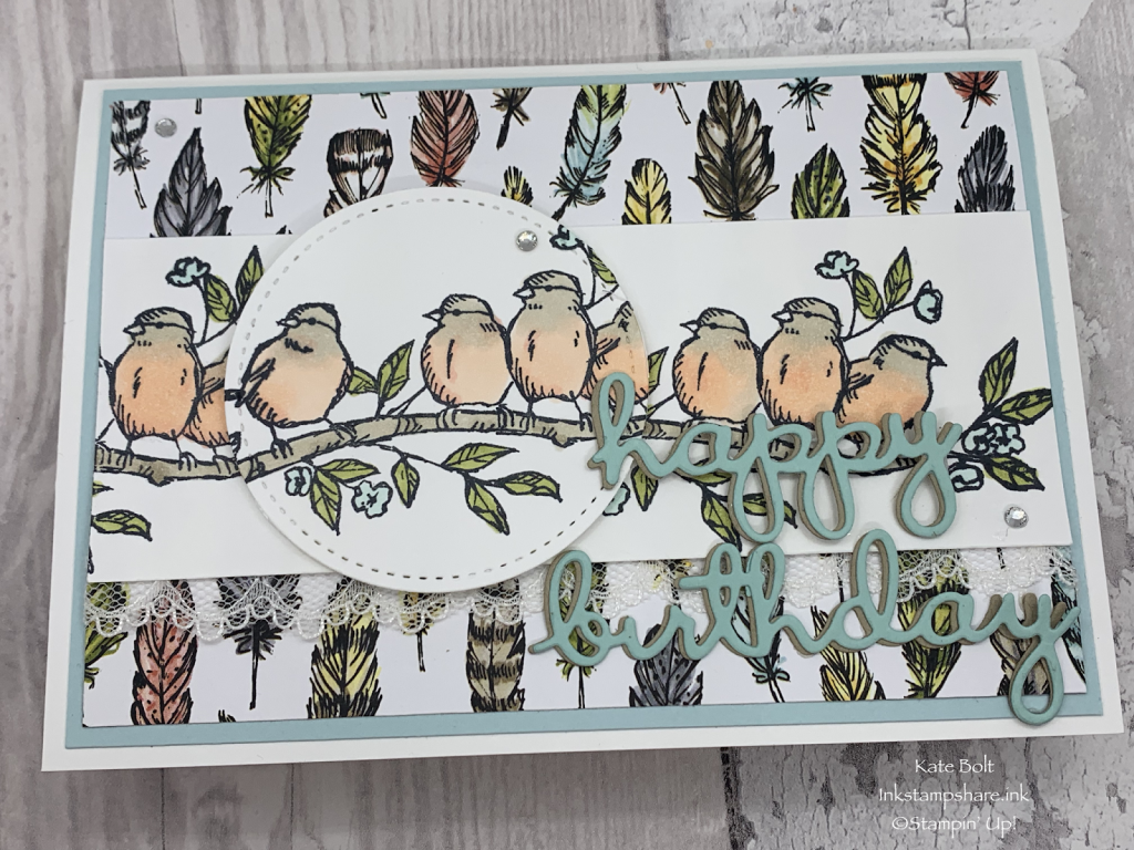 Birthday card made using the Bird Ballad Designer Series Papers and the Free As A Bird stamp set, Hand made card. Stampin Up! by Kate Bolt, Inkstampshare