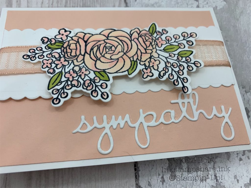 Sympathy card in Petal Pink and Whisper White .For the Inspire Create Stamping Challenge.For the Inspire Create Stamping Challenge.made using the Bloom and Grow stamp set and dies from Stampin' Up! With Petal Pink ribbon. Hand made card using all supplies from Stampin Up, available in my online shop at https://inkstampshare.ink.