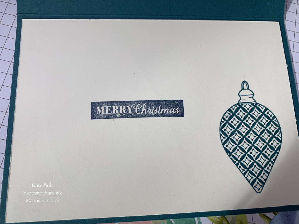 Handmade Christmas card, made using the Brightly Gleaming Paper from Stampin' Up. This shows the hand stamped inside of the card