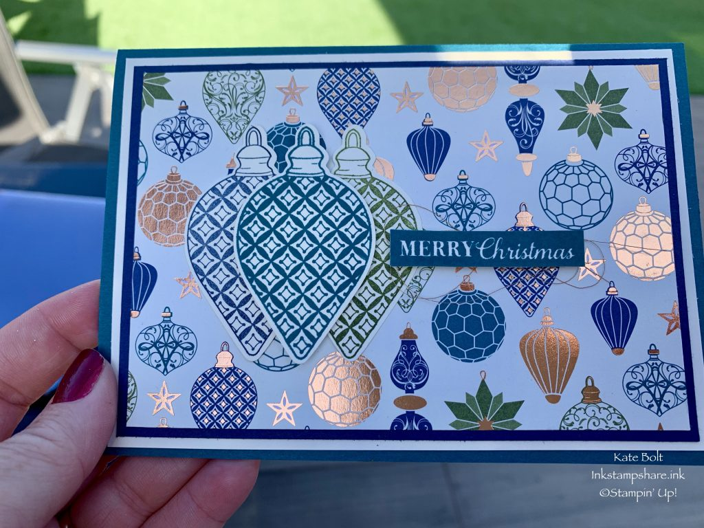 Christmas card made using the Brightly Gleaming Speciality Designer Series Papers from Stampin' Up!.