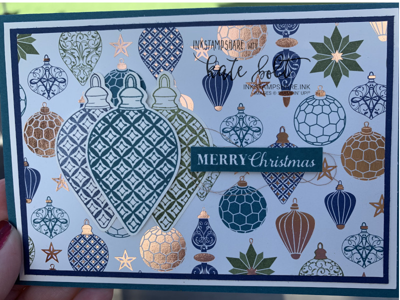 Hand made Christmas card with copper foiling using the Brightly Gleaming Designer Series papers and  the Christmas Gleaming stamp set and  bauble punches from Stampin' Up