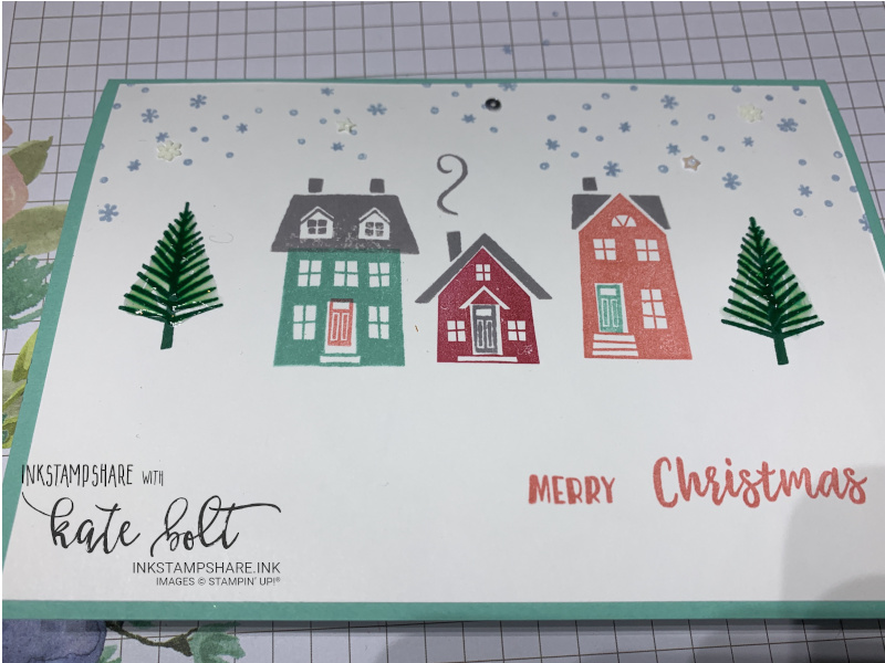 From Our House To Yours Christmas card from Coffee and  Cards. Snowy street scene Christmas card using rubber stamping.