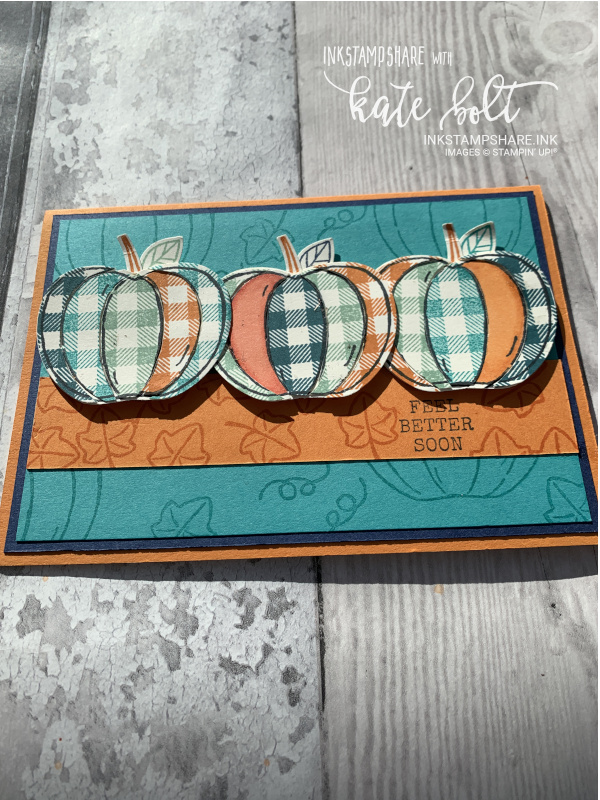 Feel Better Soon Card with a country feel using the Harvest Hello's Bundle. Gingham Pumpkins using the Apple Builder Punch.