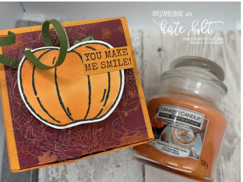 Pumpkin and Apple Yankee candle boxes made with the Come to Gather papers and  the Harvest hello's Bundle. Stampin Up with You Tube tutorial.