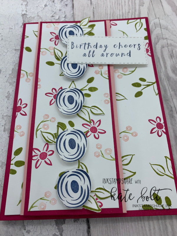 Birthday card using the Perennial Birthdays stamp set for the Inspire Create Stamping challenge #055. Using Night Of Navy, Lovely Lipstick, Blushing Bride and  Old Olive