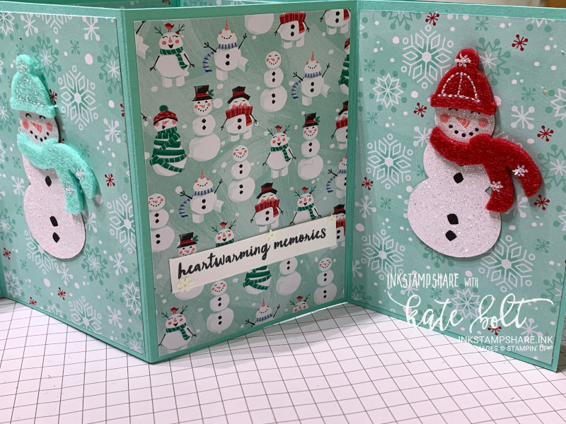 Fancy Fold Christmas Card. Z fold card with fun juggling snowman on the front. The inside folds out to show two more sparkly snowmen dressed up in hats and scarves using the Let It Snow Embellishment Kit. The inside has the Snowman Season Designer Series Paper.