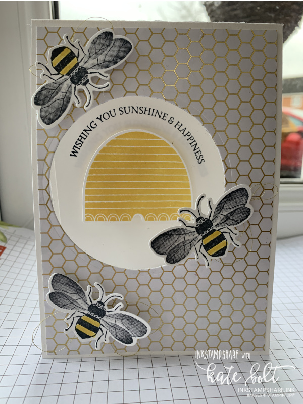 Wishing You Sunshine & Happiness card using the brand new Honey Bee stamps, Detailed Bee Dies and  the Bee papers from Saleabration.