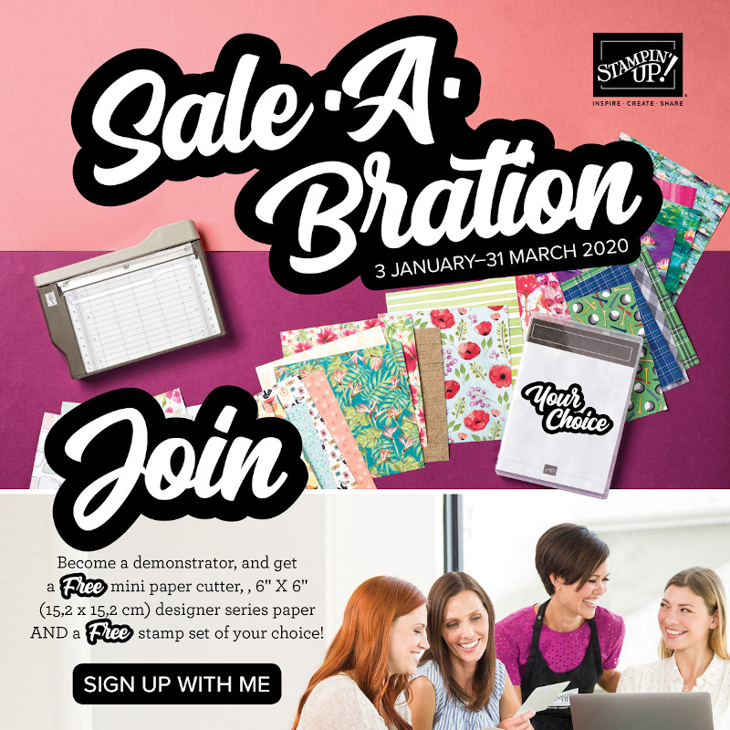 Join my team during Saleabration and  receive £130 of products for £99 plus, a mini trimmer, paper sampler, a stamp set of choice, free shipping and  ongoing discounts.