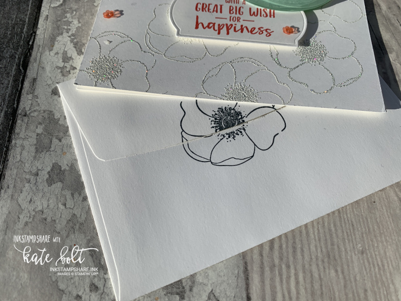 Stamp your notecard envelope in black to go with the Painted Poppies birthday card