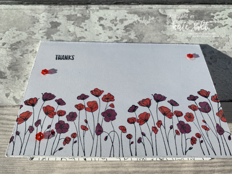 Painted Poppies thank you notecard using the Painted Poppies stamps and  Sending You thoughts stamps by Stampin Up!