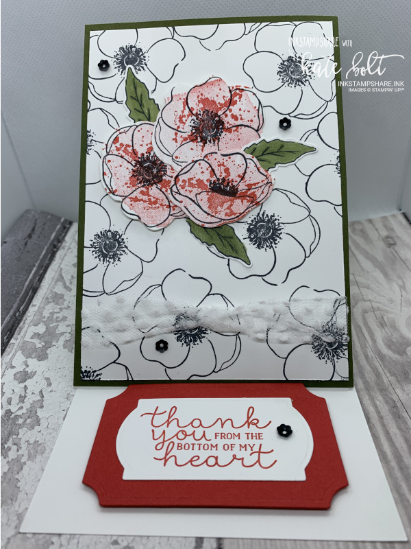 Thank you card using the Painted Poppies stamp set and  dies. Easel card black, white and  red with Thank You From The Bottom Of My Heart stamped. Poppies are stamped in black with poppies stamped in black and  red as an accent.