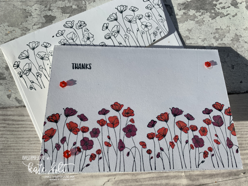 Painted Poppies thank you notecard using the Painted Poppies stamps and  Sending You thoughts stamps by Stampin Up! With envelope stamped with poppies too.