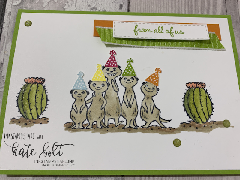 The Gang's All Meer! card . Birthday card with fun meerkat family wearing party hats. This card is for the Inspire Create Challenge Its all relative theme.