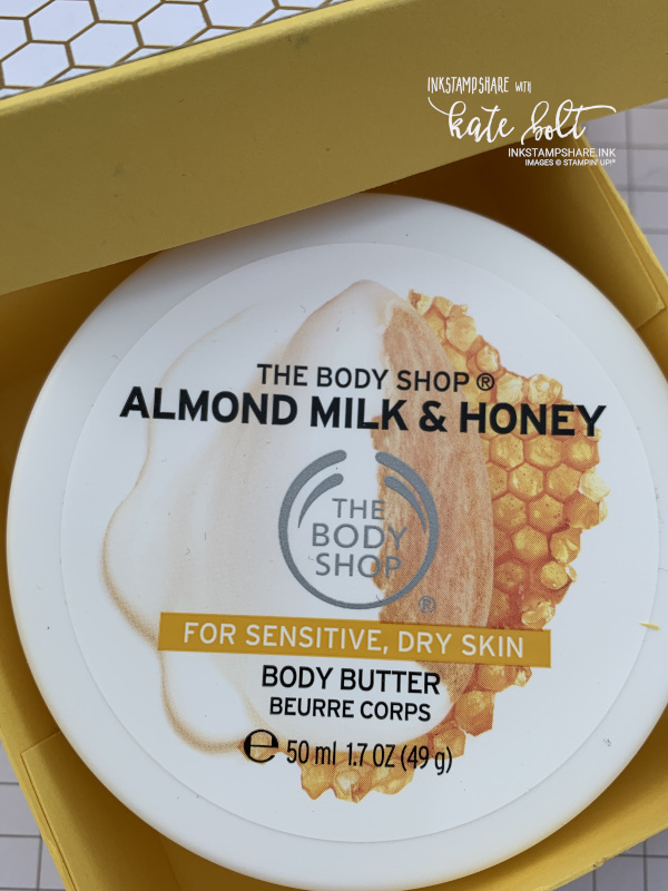 Body Shop Almond Milk & Honey Body Butter in a hand made gift box.