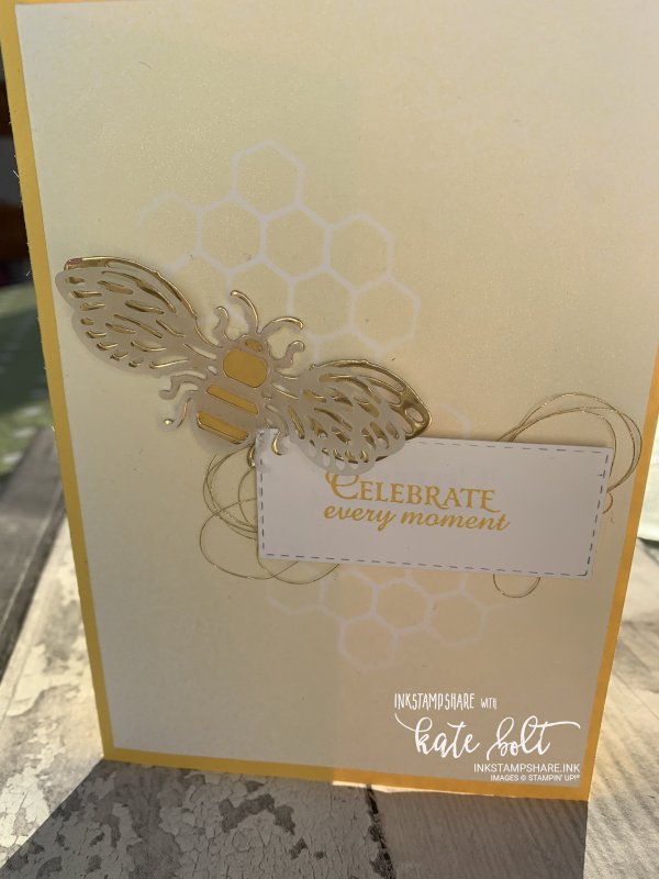 Celebration card using the Honey Bee bundle. Using reinker and  shimmer paint to create a shimmery negative honeycomb .All products from Stampin Up.