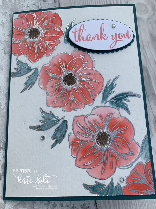 Thank you card with water colour flowers and  silver heat embossing using Flirty Flamingo, Pretty Peacock and  Early Espresso for the Inspire Create Challenge #061