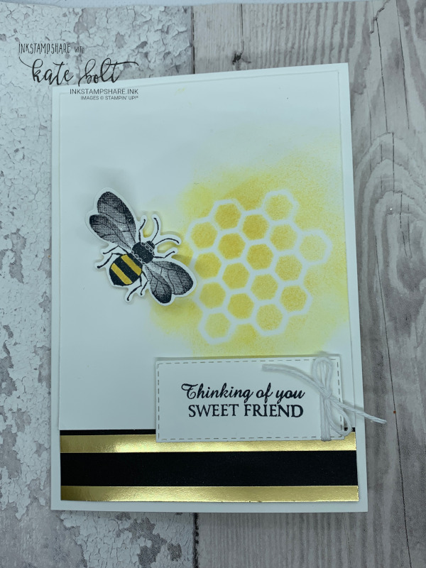 Thinking Of You Sweet Friend card for the Global Design Project #222 featuring a honey bee and  honey comb with sentiment in Daffodil Delight and  black