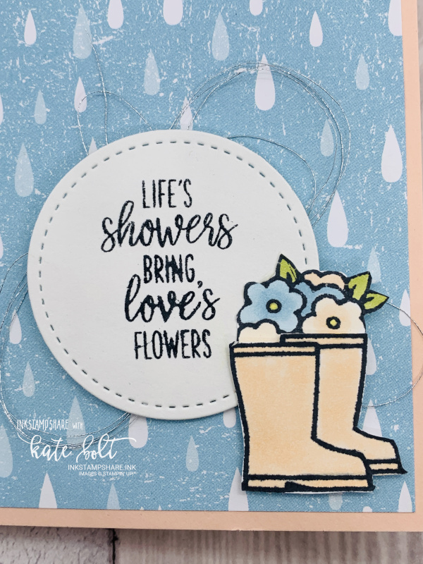 Card with rain drops and  pretty welly boots and  flowers
