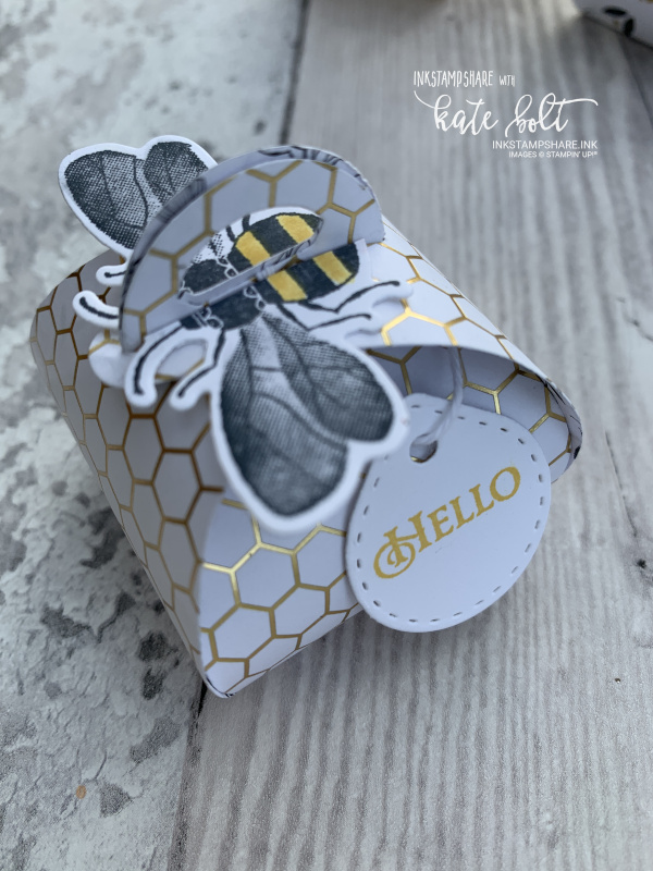 Honey Bee Gift Box using the Golden Honey Designer Series PapersThe box is White with a gold honeycomb pattern with a honey bee sitting on top