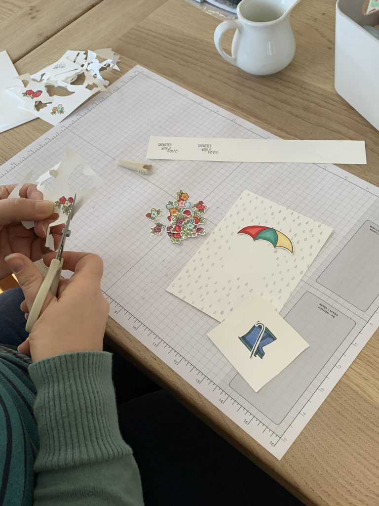 A little fussy cutting with the Under My Umbrella stamps at Coffee and  Cards