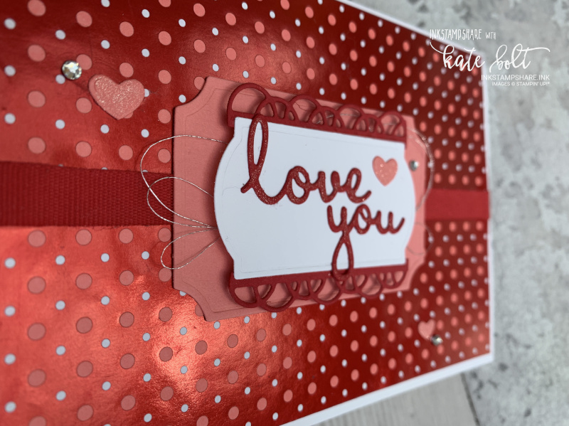 Happy Valentines From My Heart- Valentines card using the From My Hearts Speciality Designer series Paper with I Love You from the Well Written Dies. In Real Red, Whisper White and  Flirty Flamingo.
