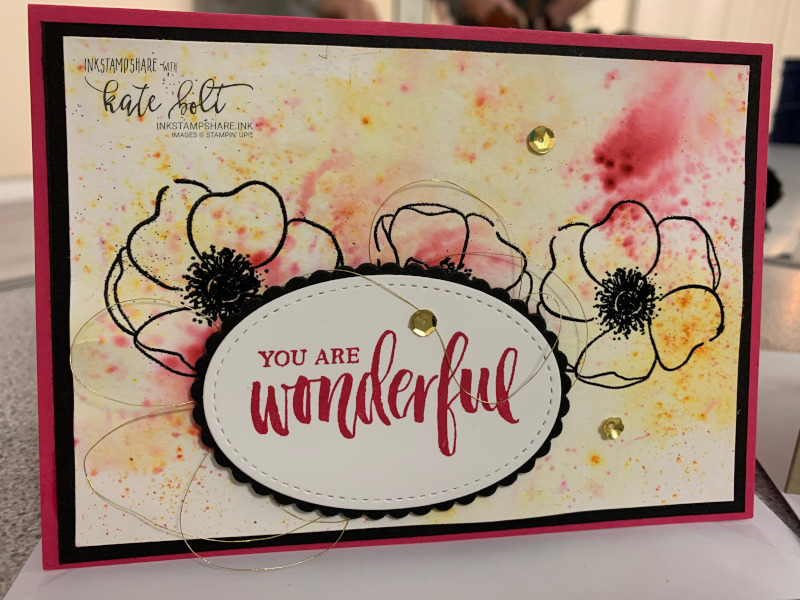 Ink. Stamp. Share Blog Hop. Using the Painted Poppies & Pigment Sprinkles to create a beautiful watercolour background for your card.