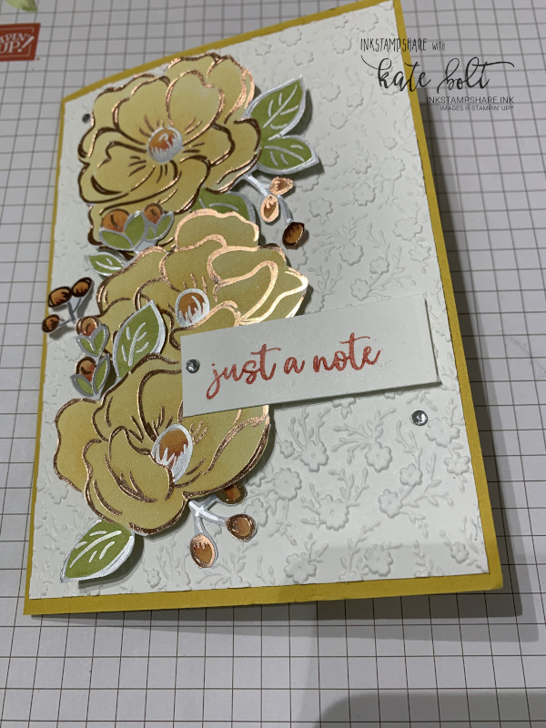 Spread some handmade happiness with the Flowering Foils papers coloured with Stampin' Blends to create a beautiful hand made card to send out in the post