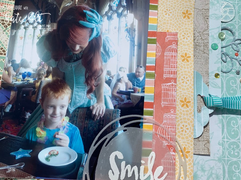 Scrapbook page of breakfast at Cinderellas Castle. fairytale Dining. Using patterned papers and  products from Stampin Up