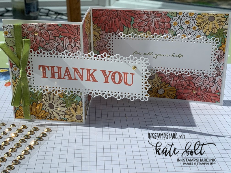 Thank you card using the Ornate Garden Suite. A fun fold card with Ornate Garden Designer Series Paper and the Ornate Layers Dies.