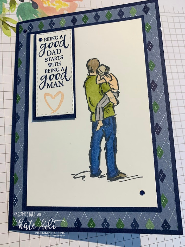 Masculine card using A Good Man stamp set from Stampin Up for the Stamp Around The UK YouTube Hop. This card is in Night Of Navy with stamped images. Coloured in using the Stampin' Blends