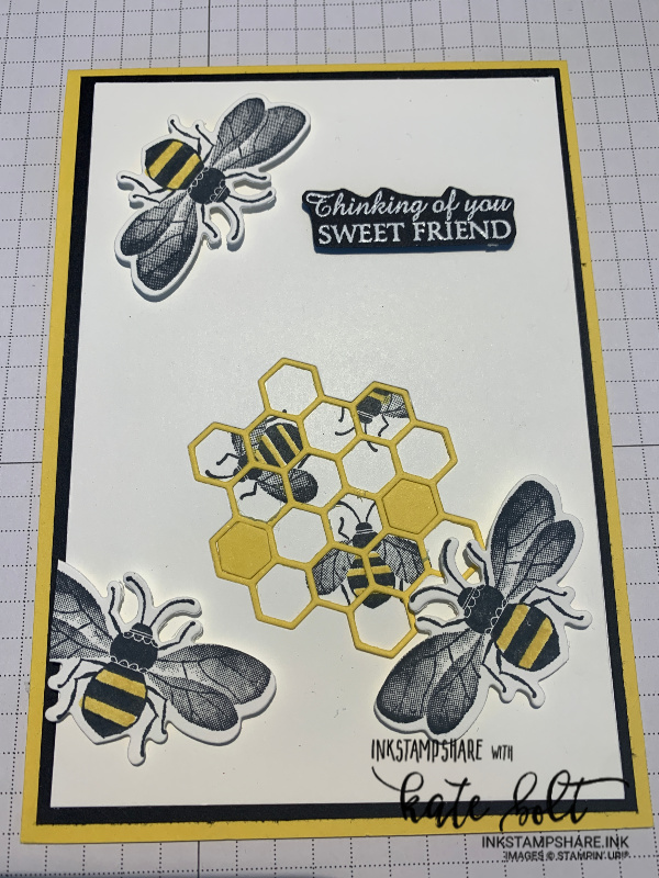 Honey Bee card with bees, honeycombe and  thining of you sweet friend embossed in white on black.