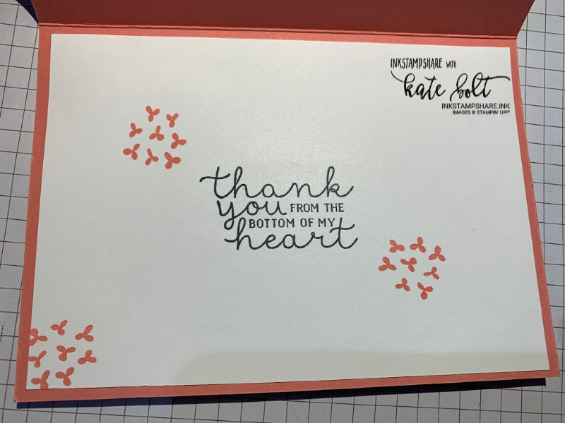 Thank you card with flower stamps using the Bloom & Grow stamps and  Dies from Stampin Up! Flowers stamped in black ink on a white background with die cut flowers in Flirty Flamingo in the foreground over the sentiment which says you are simply wonderful.