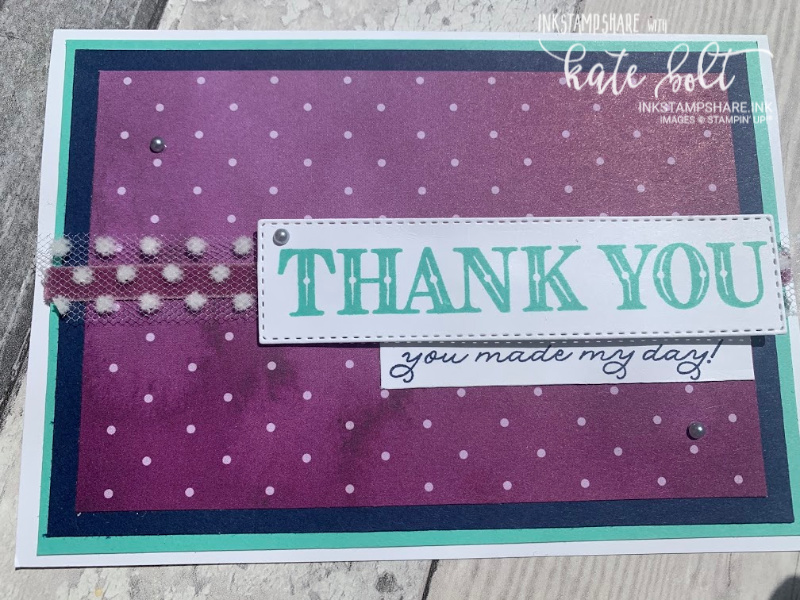 Thank you card for the Inspire Create Colour Challenge #70. Using the Ornate Garden Suite, Rich Razzleberry, Coastal Cabana and  Night Of Navy.