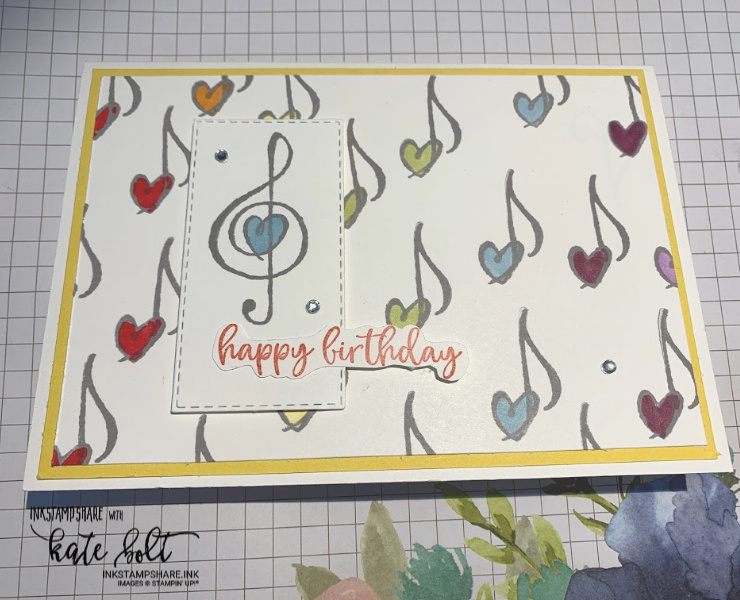Music From The Heart Birthday Card. Birthday card with musical notes and  hearts in a rainbow!