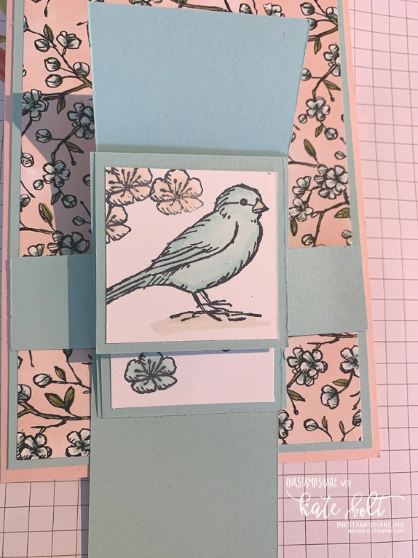Waterfall Card using Free As A Bird stamps and  Bird Ballad Designer Series Papers.