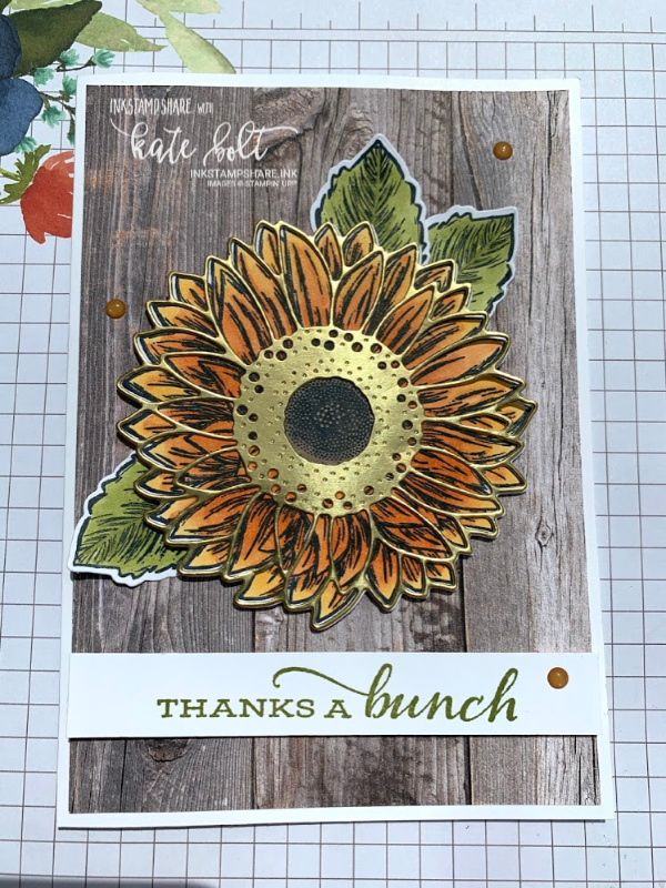 Celebrate Sunflowers Thank you card using the stamp and  dies and  gold foil paper.
