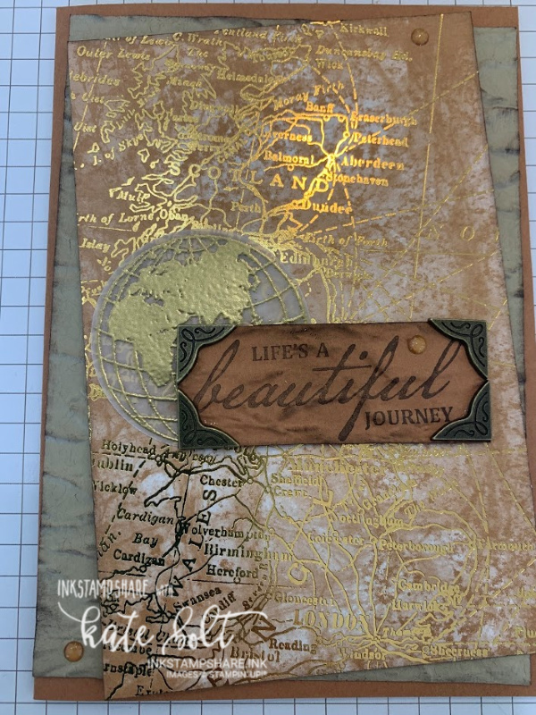 World Of Good Sneak Peek! This card is made using the brand new, World Of Good stamp set. It features the stamps, dies, the stunning papers and accessories. Giving it a distressed, Old World look.