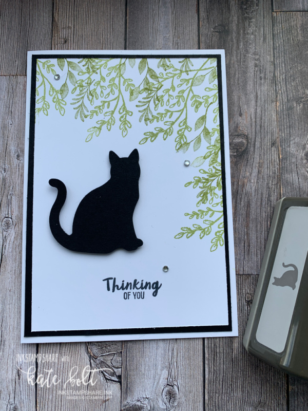 It's Raining Cats and Dogs! It's a Cat card. Thinking of you. Using the Cat punch for a black cat on a white background with green stamped leaves in Pear Pizazz. Thinking Of You in Black.